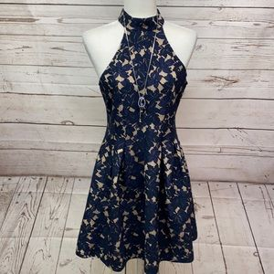 Halter Neck Line Navy Lace Overlay Flesh Lining